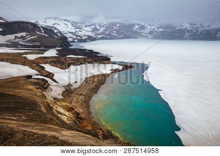 poster of Frosen Öskjuvatn (lake of Askja) lake, the second deepest lake in Iceland, Askja volcano crater, Hi