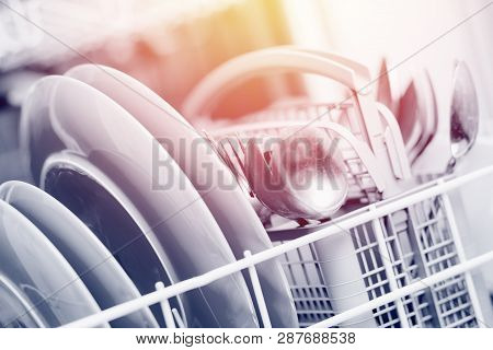 Open Dishwasher With Clean Shine