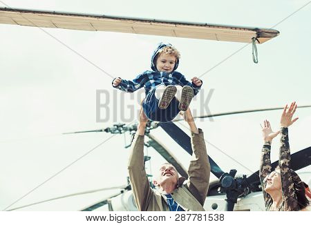 poster of Enjoying Travelling Fun. Family Vacation. Family Couple With Kid On Vacation Trip. Mother And Father