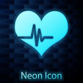 Glowing Neon Heart Rate Icon Isolated On Brick Wall Background. Heartbeat Sign. Heart Pulse Icon. Ca poster