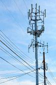 Torre de teléfono celular se levanta contra un cielo azul