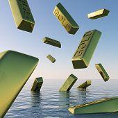 Goldbarren fallende anzeigen Depression Rezession und wirtschaftlichen nach unten