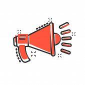 Megaphone Speaker Icon In Comic Style. Bullhorn Audio Announcement Vector Cartoon Illustration Picto poster