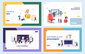 Creative Teamwork Concept Set Landing Page. People Character At Video Conference Meeting. Work Toget poster
