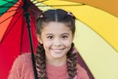 Colorful Accessory For Cheerful Mood. Girl Child Long Hair Walking With Umbrella. Stay Positive And  poster