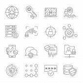 Set Icons Of Cyber Protection And Internet Security. Technologes Of Digital Safety. Vector Line Icon poster