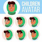 Arab, Muslim Girl Avatar Set Kid Vector. Primary School. Face Emotions. Emotions, Emotional. Friendl poster