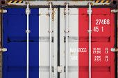 Close-up Of The Container With The National Flag Of France. The Concept Of France  Export-import And poster