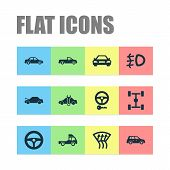 Automobile Icons Set With Crossover, Foglight, Pickup And Other Drive Control Elements. Isolated  Il poster