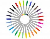 Colorful Markers - Colored Set. Color Marker Color Pen Group Isolated On White Background. poster