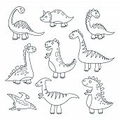 Outline Dinosaurs. Cute Baby Dino Funny Monsters Jurassic Wildlife Animals Dragon Funny Dinosaurs Ve poster
