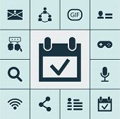 Media Icons Set With Social Page, Microphone, Animation And Other Conversation Elements. Isolated Ve poster