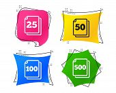 In Pack Sheets Icons. Quantity Per Package Symbols. 25, 50, 100 And 500 Paper Units In The Pack Sign poster