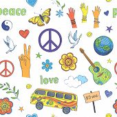 Cheerful Seamless Pattern . On A White Background Multicolored Drawings In Hippie Style. poster