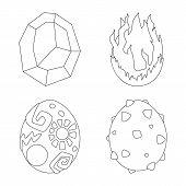 Vector Design Of Dinosaur  And Magic  Symbol. Collection Of Dinosaur  And Fantasy Stock Symbol For W poster