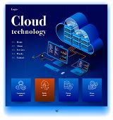 Cloud Technology Website. Concept Of A Landing Page For Data Center. Website Providing The Service O poster