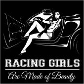 Street Racing. Sexy Sport Girl And Sport Car. Auto Motor Racing poster