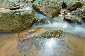 Flowing water of mountain stream rocks in stream