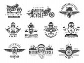 Motorcycle Labels. Biker Badges With Speed Symbols Engine Motor Race Chopper Skull And Fire Vector P poster