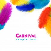 Colored feathers on white background. Carnival. Rainbow poster