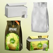 3d Realistic Set Blank White Paper Tea Bags And Loose Leaves Packs Boxes And Examples With Ready Des poster