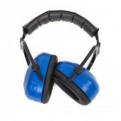 Hearing protection blue ear muffs, Personal Protective Equipment, Safety Equipment isolated on white poster