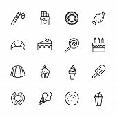 Simple Icon Set Confectionery, Pastries And Sweets. Contains Such Symbols Lollipop, Chocolate Bar, C poster