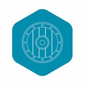 Round Army Shield Icon. Outline Illustration Of Round Army Shield Vector Icon For Web poster