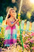 Playfull girl watering flowers with rain in the garden at summer day. Child using garden hose on sun poster