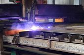 Cutting Metal With Plasma Equipment. Metallurgical Production, Manufacturing Premises, Workshop At T poster