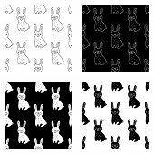 Cute Cartoon Hand Drawn Rabbit Pattern Collection. Sweet Vector Black And White Rabbit Pattern Colle poster