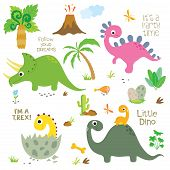 Cute Colorful Dinosaurs Set On White Background poster