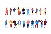 Set Stylish Business People Wearing Fashionable Different Office Workers Business Women Men Standing poster