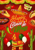 Mexican Holiday Cinco De Mayo Calligraphy Greeting. Vector Cinco De Mayo Fiesta Food Tacos, Quesadil poster