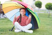 Find Peaceful Private Space To Relax. Under Big Umbrella. Girl Child Long Hair Meditate Park Under U poster