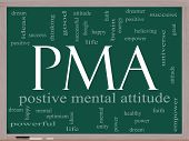 foto of pma  - PMA Word Cloud Concept on a Chalkboard with great terms such as Positive Mental Attitude empower faith dream brain and more - JPG