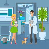 Veterinary Office Flat Vector Color Illustration. Veterinarian Meet Woman With Dogs In Reception Roo poster