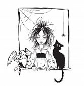 pic of baby spider  - Baby witch with black cat - JPG