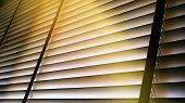 Evening Sun Light Outside Wooden Window Blinds, Sunshine And Shadow On Window Blind And, Decorative  poster