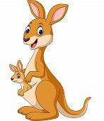 Vector Illustration Of Cartoon Happy Kangaroos With Baby Joey poster