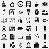 Hairdressing Salon Icons Set. Simple Style Of 36 Hairdressing Salon Vector Icons For Web For Any Des poster