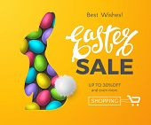 Vector Template Of Easter Sale Banner With 3d Colorful Eggs, Text And Realistic Layered Cut Out Pape poster