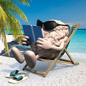Brain With Arms, Legs, Sunglass And Sandals On The Beach Chair Reading A Book, 3d Illustration poster