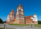 Medieval castle in Gothic style in Mir (Belarus).