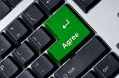 Keyboard With Green Key Agree