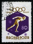 HUNGARY CIRCA 1968: A stamp printed in Hungary shows Winter Olympic games in Squaw Valley, circa 1968
