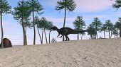 runnig cerantosaurus in araucaria tree grove