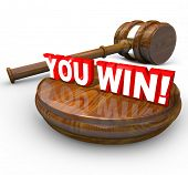 The words You Win under a gavel to symbolize a legal victory in a court case or proceeding