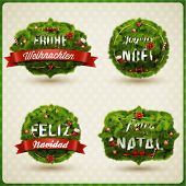 """Merry Christmas"" in different languages (German, Spanish, French, Portuguese). Creative Christmas l"