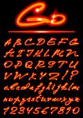 pic of cursive  - vector fire transparent Alphabet - JPG